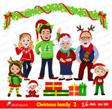 Christmas Family Clipart, Christmas Clip Art, Commercial u