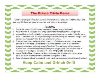 Grinch Trivia Games