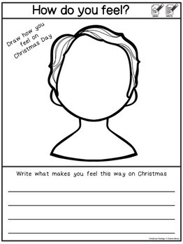 Christmas Feelings- Black and white printable worksheets by Katrina ...