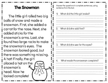 Christmas Fiction Reading Comprehension Passages and Questions