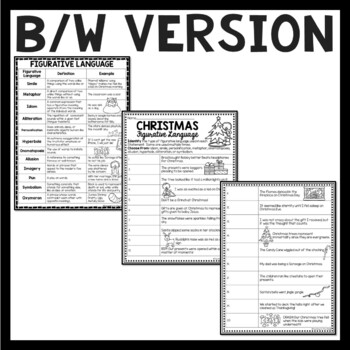 Christmas Figurative Language Identification, December, Simile, Metaphor