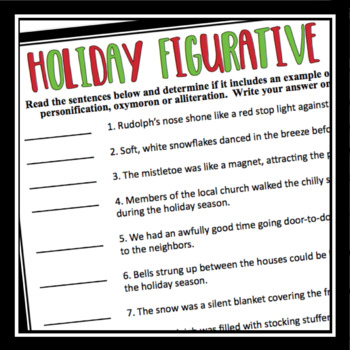 Christmas Figurative Language By Presto Plans Teachers Pay Teachers