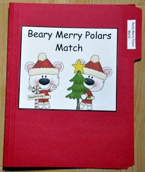 "Christmas File Folder Game--""Beary Merry Polars Match I"""