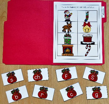 Christmas File Folder Game:  Christmas Beginning Sounds
