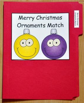 "Christmas File Folder Game--""Merry Christmas Ornaments Match"""