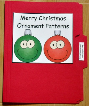 "Christmas File Folder Game--""Merry Christmas Ornaments Patterns"""