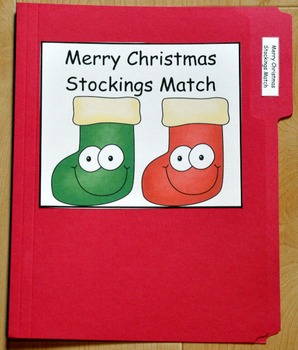 "Christmas File Folder Game--""Merry Christmas Stockings Match"""