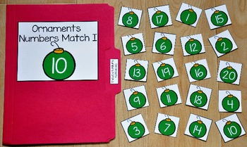 Christmas File Folder Game:  Ornaments Numbers Match