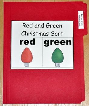 """Christmas File Folder Game--""""Red and Green Sort"""""""