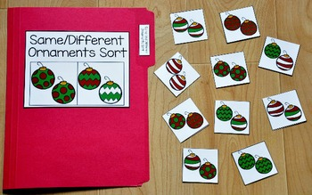 Christmas File Folder Game:  Same and Different Ornaments Sort