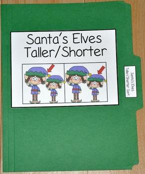 """Christmas File Folder Game--""""Santa's Elves Shorter/Taller Sort"""""""