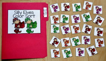 Christmas File Folder Game:  Silly Elves Color Sort
