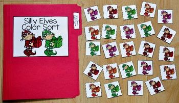 Christmas File Folder Game:  Silly Elves Color Sort