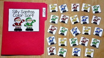 Christmas File Folder Game:  Silly Santas Color Sort