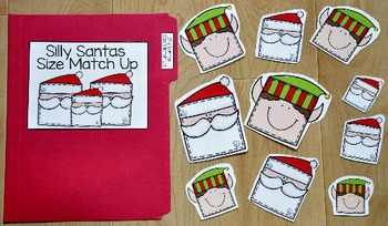Christmas File Folder Game:  Silly Santas Size Match