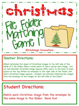 Christmas File Folder Matching Game 1