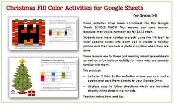 Christmas Fill Color Activities for Google Sheets—Grades 3-8