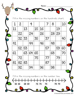 Christmas Fill in the Hundreds Chart and Number Line {FREEBIE}