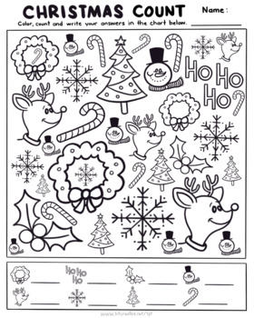 Christmas Find and Count Activity page