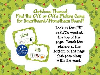 Christmas Find the CVC or CVCe Picture Game for Smartboard or Promethean Board!