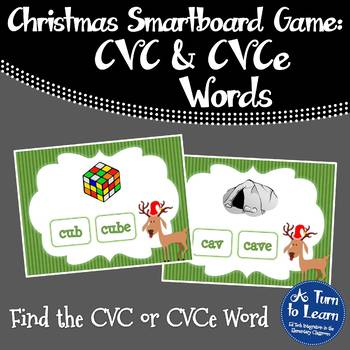 Christmas Find the CVC or CVCe Word for Smartboard/Prometh