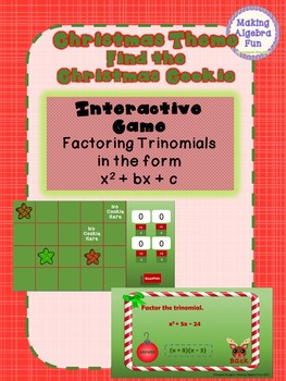 Christmas Find the Christmas Cookie Game Factoring Trinomials