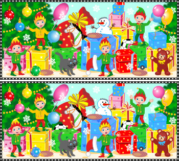 Christmas Find the Differences Picture Puzzle with Elves, Commercial Use Allowed