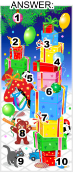 Christmas Find the Differences Picture Puzzle with Gifts, Commercial Use Allowed