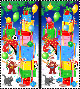 Christmas Find the Differences Picture Puzzle with Gifts,