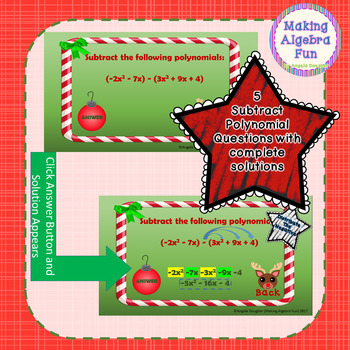 Christmas Find the Reindeer Game Adding Subtracting and Multiplying Polynomials