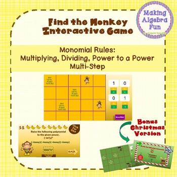 Find the Monkey Game Multiplying Dividing Power Monomials Christmas BONUS