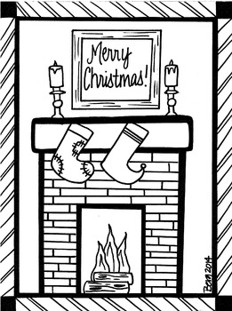 Christmas Fireplace Coloring Sheet by KoolKat's Art Bin | TpT