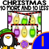 Christmas First Grade Scoot or Task Cards - 10 More and 10