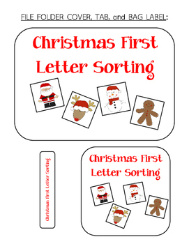 Christmas First Letter Sorting File Folder Activity