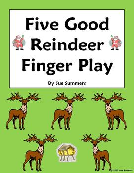 Christmas Five Good Reindeer Finger Play