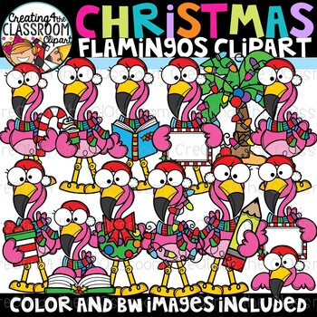Christmas Flamingos Clipart {Christmas Clipart}