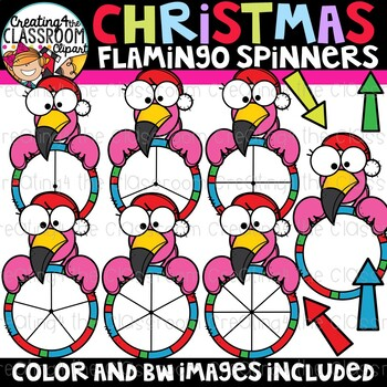 Christmas Flamingo Spinners Clipart {Christmas Clipart}