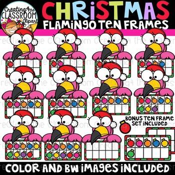 Christmas Flamingo Ten Frames Clipart {Christmas Clipart}