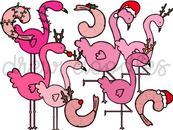Christmas Flamingos Digital Clip Art Set