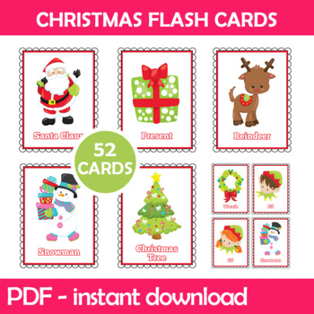 Christmas Flash Cards; Kindergarten; Preschool; Homeschool; Bulletin Board