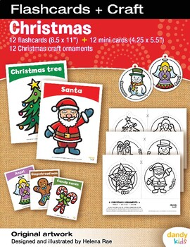 Christmas Flashcards + Craft / Set of 12 / Printable