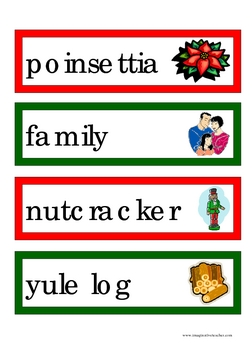 Christmas Flashcards and Word Wall Cards