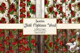 Christmas Floral Wood Digital Paper