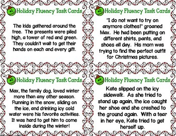 Christmas Fluency Task Cards { Short stories for Oral Fluency Reading Practice }