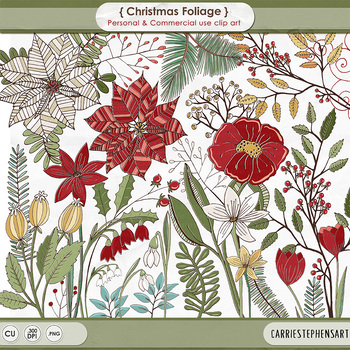 Christmas Flowers ClipArt, Floral Poinsettia, Holiday Foliage, Winter Branches