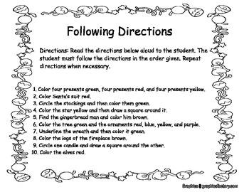 christmas following directions by e z speechy teachers. Black Bedroom Furniture Sets. Home Design Ideas