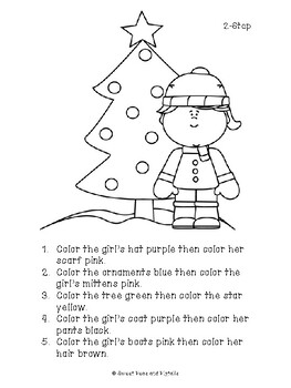 christmas following directions cards coloring sheets tpt. Black Bedroom Furniture Sets. Home Design Ideas