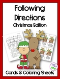 Christmas Following Directions Cards & Coloring Sheets