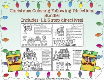 Christmas Following Directions Coloring Bundle!
