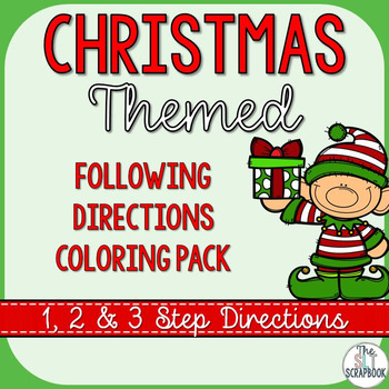 Christmas Following Directions Coloring Pack 1 2 And 3 Step Instructions